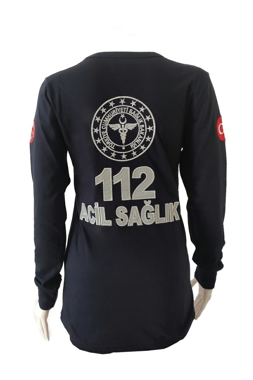 112 V Yaka Penye Uzun Kollu T-shirt | 112 Tişört Çeşitleri