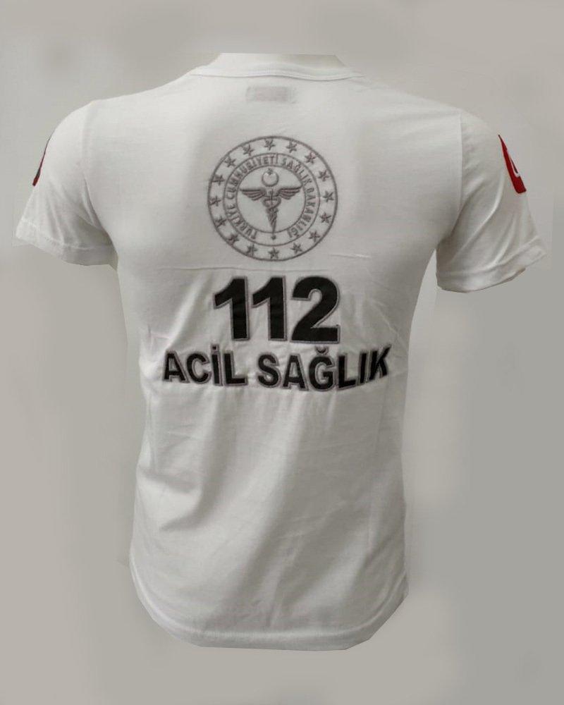 Beyaz Penye 112 T-shirt Kısa Kol
