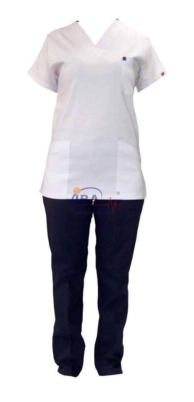 Lacivert Beyaz Cerrahi Likralı Takım Scrubs Fiyatı