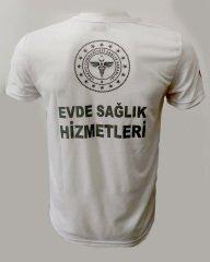 V Yaka Beyaz Evde Sağlık T-shirt | 112 T-Shirt Çeşitleri